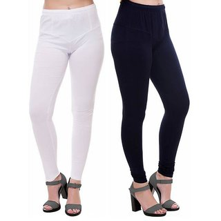 HauteAndBold Black  White Super Cotton Churidar LEGGING and and multicolours Colours Leggings for Womens and Girls- Sizes - M, L, XL, 2XL, 3XL,