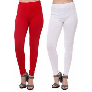 HauteAndBold  Red  White Super Cotton Churidar LEGGING and and multicolours Colours Leggings for Womens and Girls- Sizes - M, L, XL, 2XL, 3XL,