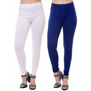HauteAndBold  White  Blue Super Cotton Churidar LEGGING and and multicolours Colours Leggings for Womens and Girls- Sizes - M, L, XL, 2XL, 3XL,