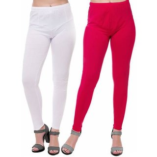 HauteAndBold  White  Pink Super Cotton Churidar LEGGING and and multicolours Colours Leggings for Womens and Girls- Sizes - M, L, XL, 2XL, 3XL,