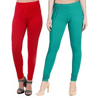 HauteAndBold Red  Dark Green  Super Cotton Churidar LEGGING and and multicolours Colours Leggings for Womens and Girls- Sizes - M, L, XL, 2XL, 3XL,