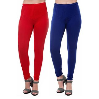 HauteAndBold Red   Blue  Super Cotton Churidar LEGGING and and multicolours Colours Leggings for Womens and Girls- Sizes - M, L, XL, 2XL, 3XL,