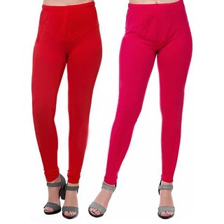HauteAndBold Red  Pink  Super Cotton Churidar LEGGING and and multicolours Colours Leggings for Womens and Girls- Sizes - M, L, XL, 2XL, 3XL,