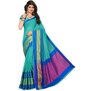Women's Turquoise Color Cotton Silk Saree With Blouse