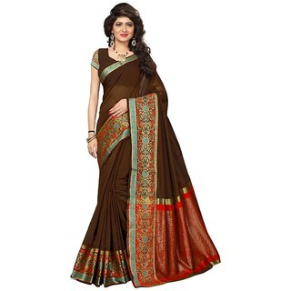 Women's Brown Color Chanderi Silk Saree With Blouse