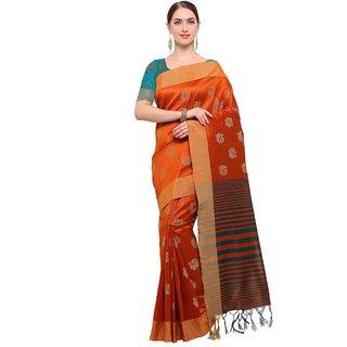 Women's Orange Color Tussar Silk Saree With Blouse