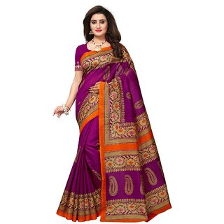 Women's Purple, Beige Color Bhagalpuri Silk Saree With Blouse