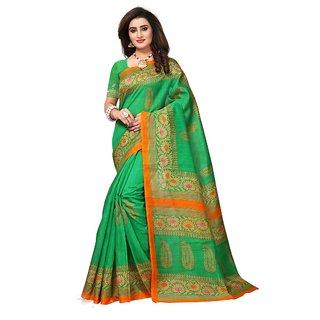 Women's Green, Beige Color Bhagalpuri Silk Saree With Blouse