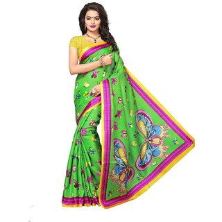 Women's Green, Multi Color Art Silk Saree With Blouse