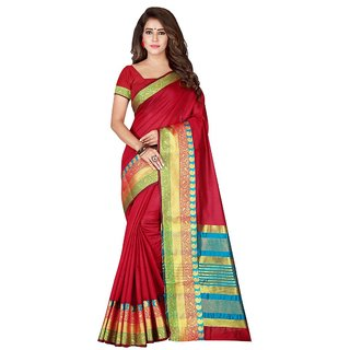 Women's Maroon Color Cotton Silk and Poly Silk Art Silk Saree With Blouse