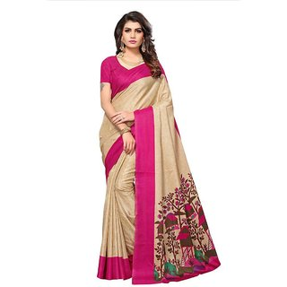 Women's Beige, Pink Color Poly Silk Saree With Blouse