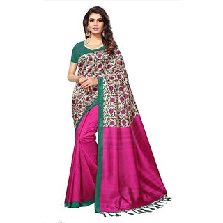 Women's Pink Color Poly Silk Saree With Blouse