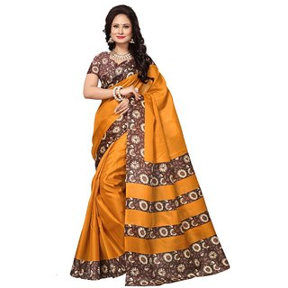Women's Yellow, Multi Color Art Silk Saree With Blouse