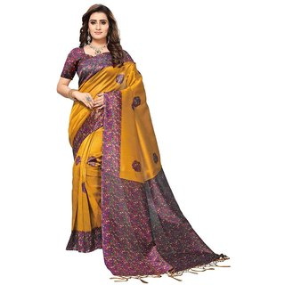 Women's Yellow, Multi Color Poly Silk Saree With Blouse