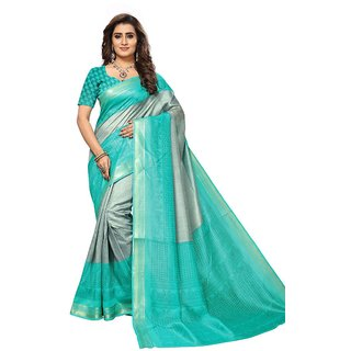 Women's Grey, Turquoise Color Art Silk Saree With Blouse