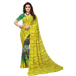 Women's Multi Color Georgette Saree With Blouse