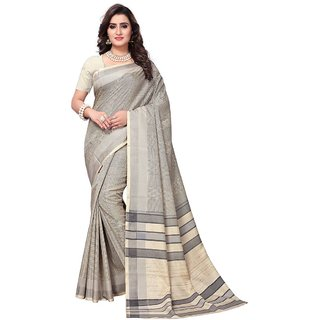Women's Beige, Black Color Vichitra Silk and Art Silk Saree With Blouse