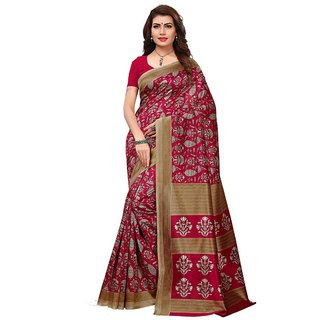Women's Maroon, Beige Color Poly Silk Saree With Blouse