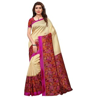 Women's Beige, Pink, Multi Color Poly Silk Saree With Blouse