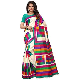Women's Off White, Turquoise Color Bhagalpuri Silk and Art Silk Saree With Blouse
