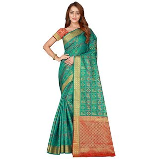 Women's Turquoise Color Poly Silk Saree With Blouse