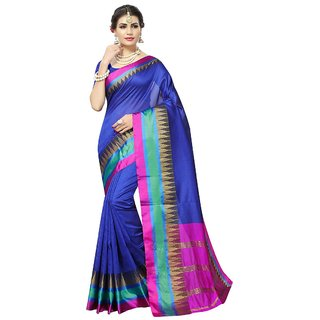 Women's Royal Blue, Pink Color Poly Silk Saree With Blouse