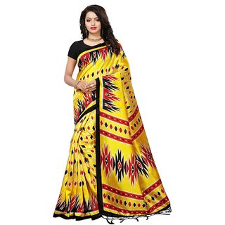 Women's Yellow, Red, Black Color Poly Silk Saree With Blouse
