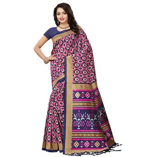Women's Navy Blue, Multi Color Poly Silk Saree With Blouse