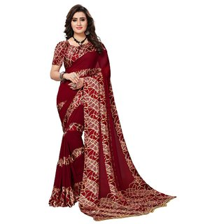 Women's Maroon, Cream Color Georgette Saree With Blouse
