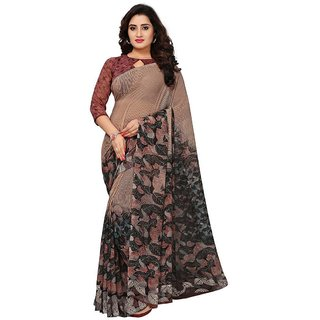 Women's Brown and Beige Brown Multi Color Georgette Saree With Blouse