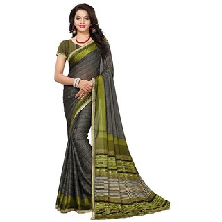 Women's Grey, Green Color Georgette Saree With Blouse