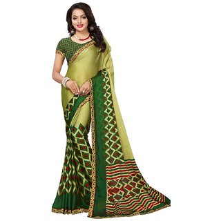 Women's Green, Red Color Georgette Chiffon Saree With Blouse