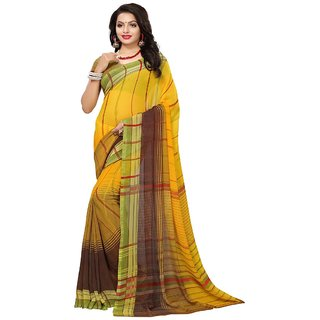 Women's Yellow, Multi Color Georgette Saree With Blouse