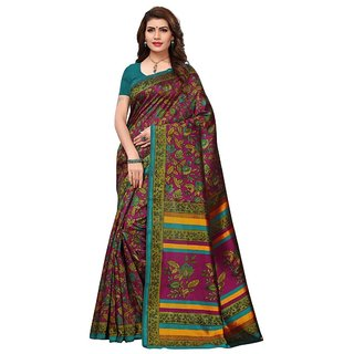 Women's Magenta, Turquoise, Multi Color Kashmiri Silk and Art Silk Saree With Blouse