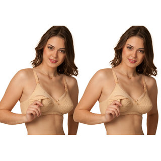 169934a6b4177 Sona Breastfeeding maternity bra for Milk feeding- Elastic Straps Chiken Cotton  breast feeding bras for Nursing Women ( Pack of 2)