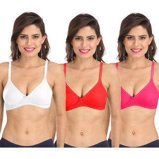 Sona Women'S M1001 Everyday Non Padded Non Wired 3/4th Coverage T-Shirt Bra Pack of 3