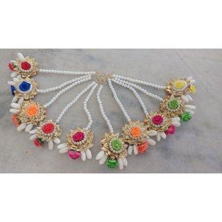 Set of 10 - Indian Wedding Artificial Flower Maang Tikas Or Gift Items