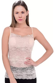 IndiRocks Women's Women's/Girl's Lightly Padded Strapless Full Floral Net Camisole with Removable Pads, Free Size,Beige