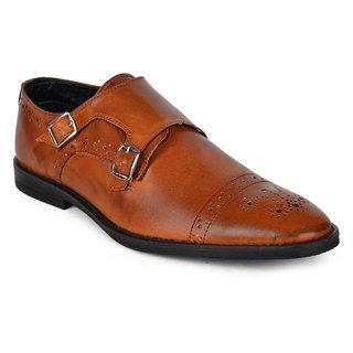 Wega Life Men's Khaki Monk Strap Formal Shoes