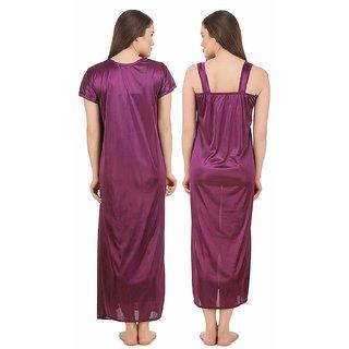 716c31da9f Buy Satin light weight Purple 2 PC Purple 2 PC colour sating gown ...