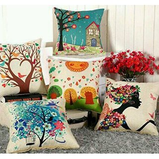 Shakrin Printed Rajasthani Jute Cushion Covers Set of 5, (Size: -16 inch x 16 inch)