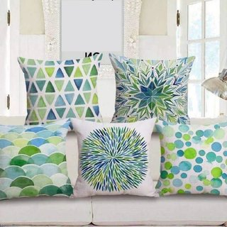 Shakrin HD Digital Printed Jute Polyester Fabrics Cushion Covers Set of 5, (Size: -16 inch x 16 inch)