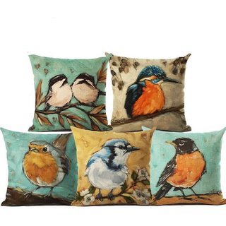 Shakrin HD Digital Printed Jute Polyester Fabrics Cushion Covers Set of 5, (Size: -16 inch x 16 inch)