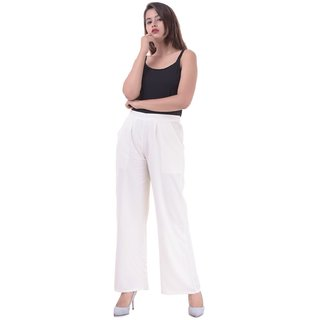 Real Bottom (Off White) Casual Rayon Staple Women Palazzo