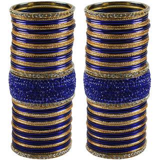 Blue Stone Stud Brass Bangle set