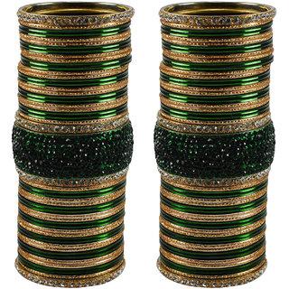 Green Stone Stud Brass Bangle set