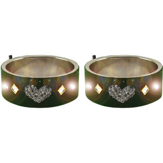 Green Stone Stud Brass LED With Switch Bangle