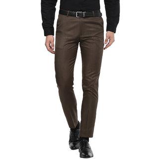 Inspire Jacu Brown Slim Fit Formal Trouser