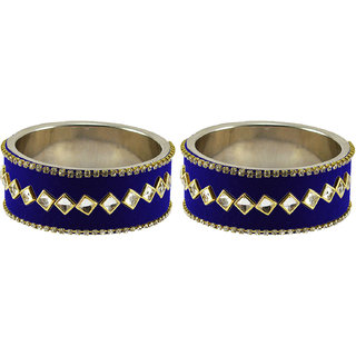 Blue Stone Stud Metal Bangle