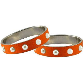 Orange Moti Brass Bangle